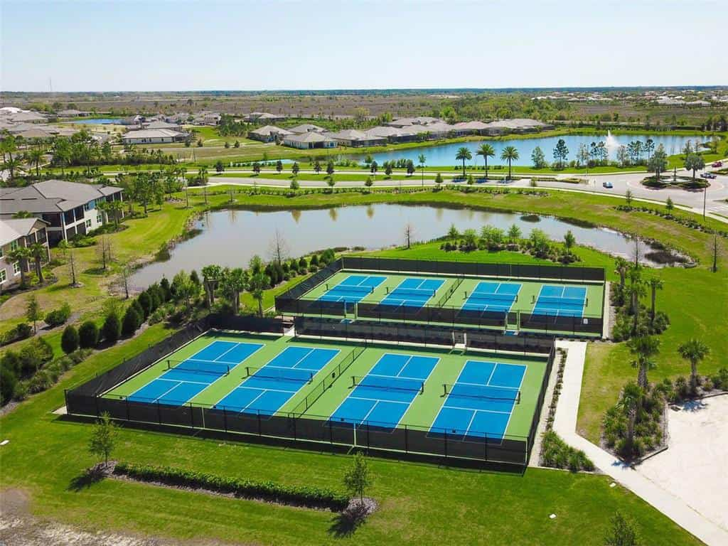 Lakewood Ranch Country Club East homes in Lakewood Ranch, FL. - Lodge AerialPool