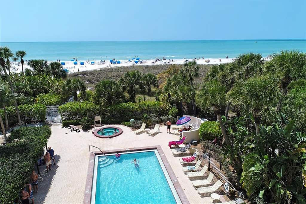 Excelsior Beach To Bay Condos in Siesta Key - Sarasota, FL. - Pool Aerial View